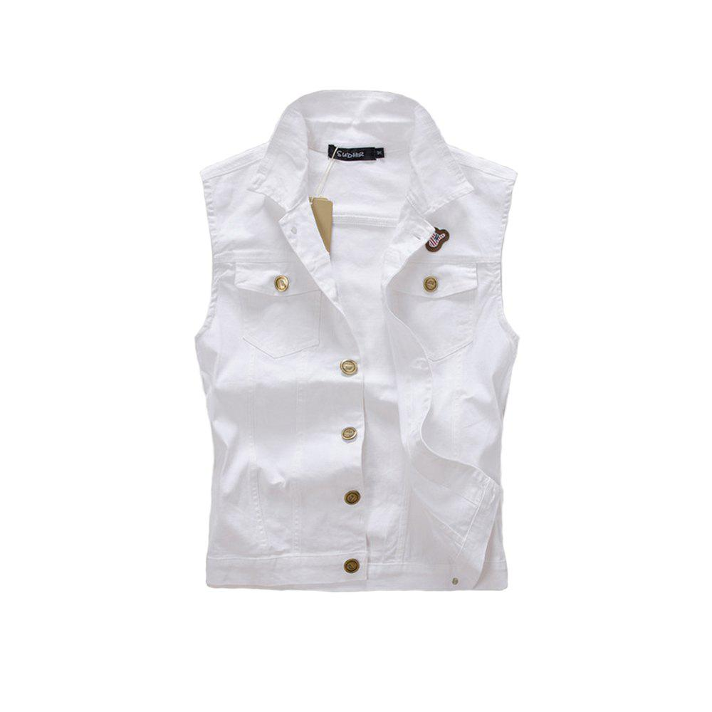 Men's  Solid Labeling Single Breasted Sleeveless Fashionable Vest Jacket - MILK WHITE XL
