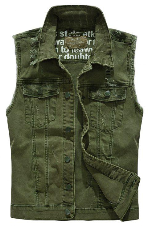 Men's  Solid Color Sleeveless Personality Frayed Waistcoat - DARK FOREST GREEN L