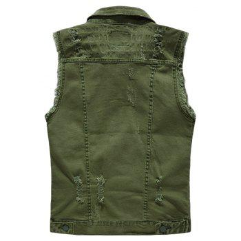 Men's  Solid Color Sleeveless Personality Frayed Waistcoat - DARK FOREST GREEN 3XL