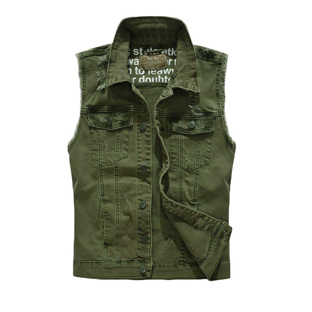 Men's  Solid Color Sleeveless Personality Frayed Waistcoat - DARK FOREST GREEN M
