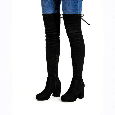 Suede Tie Back Over The Knee Heeled Boots - BLACK 39
