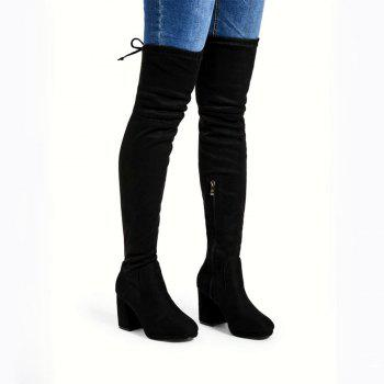 Suede Tie Back Over The Knee Heeled Boots - BLACK 40