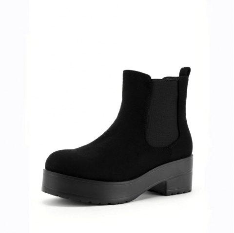 Suede Round Toe Wedge Boots - BLACK 37