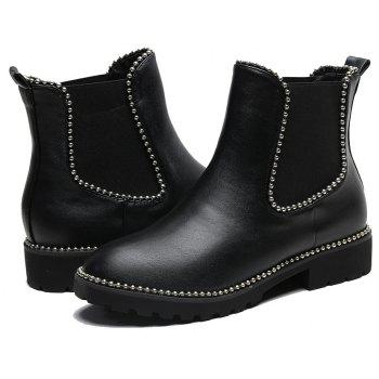Metal Beads Trim Elasticity PU Ankle Boots - BLACK 39