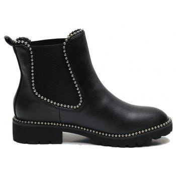 Metal Beads Trim Elasticity PU Ankle Boots - BLACK 41