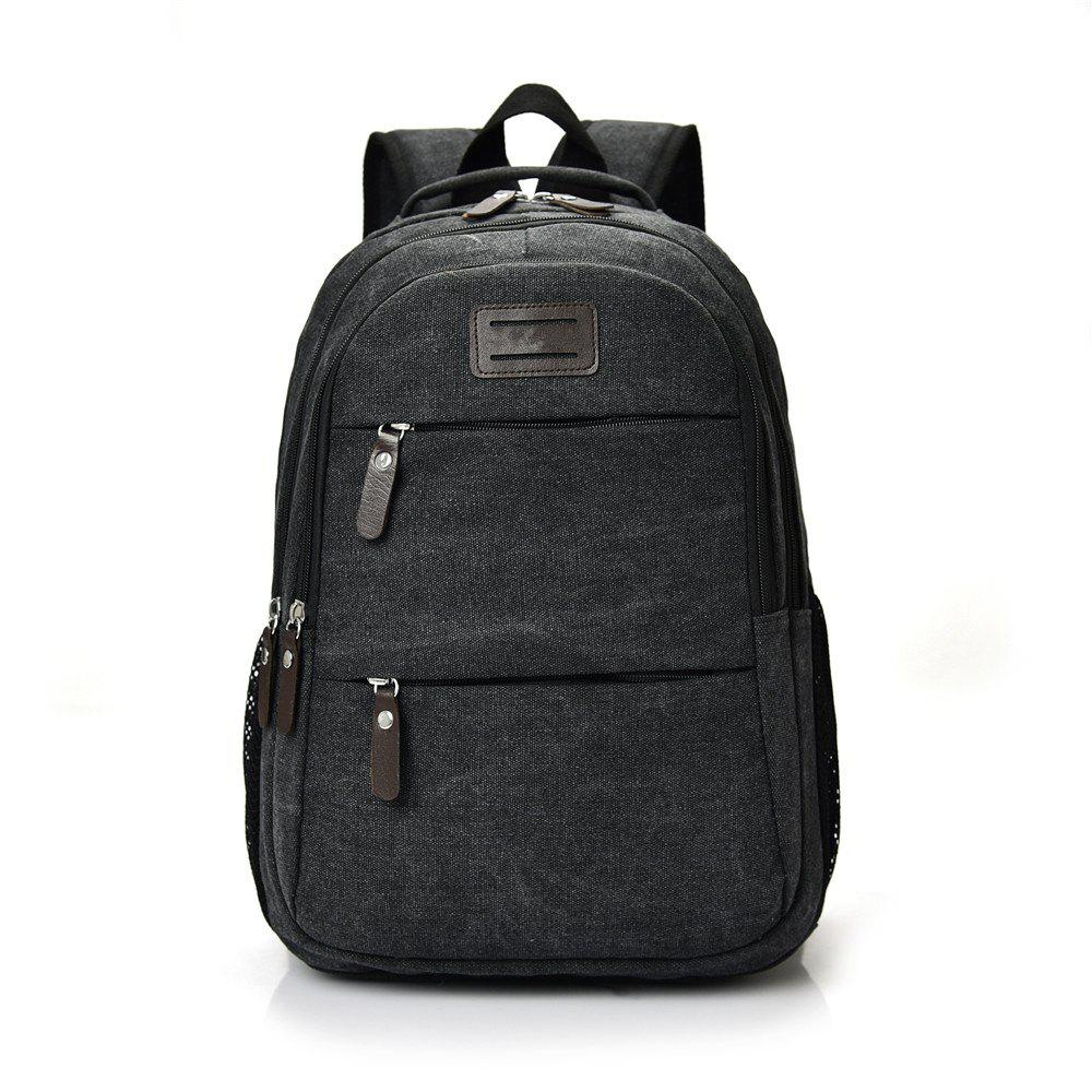 Fashion Wild Large Capacity Simple Male Travel Canvas Shoulder Bag Tide - BLACK
