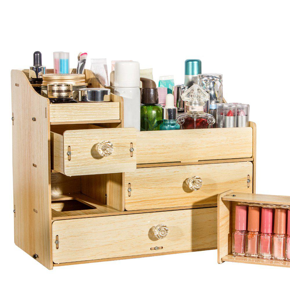 41 Off 2020 Hecare Diy Wooden Makeup Jewelry Container Wood Drawer Handmade Cosmetic Storage In Beige Dresslily
