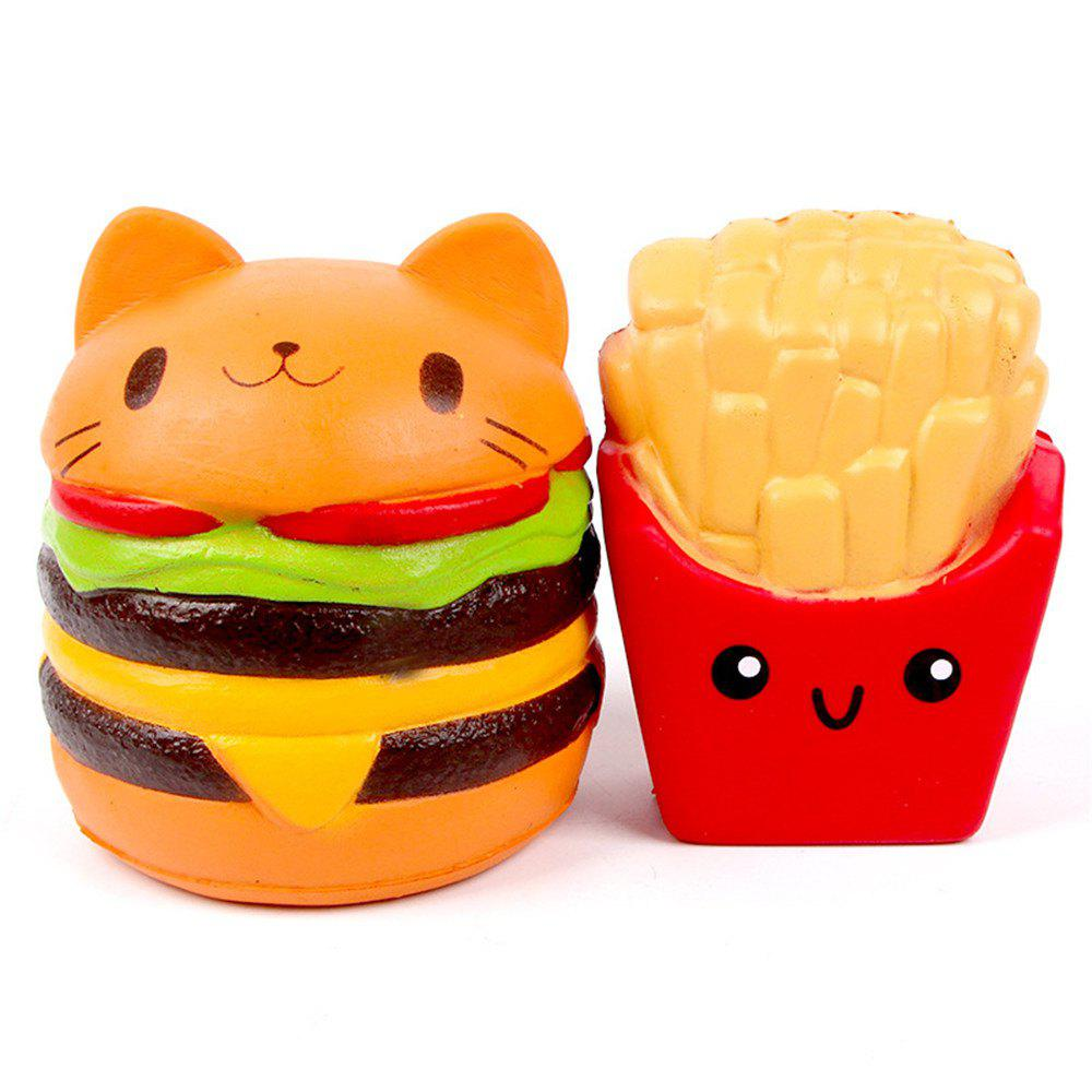 Jumbo Squishy Slow Rising Kawaii Cat Hamburger Bread and French Fries Toy 2PCS potato sticks cutting machine french fries machine cut fries machine cut radish cucumber