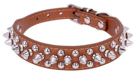 Pet Dog Collar Round Bullet Nail Rivet Studded Collar Neck Strap Pitbull - BROWN S