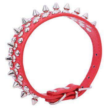 Pet Dog Collar Round Bullet Nail Rivet Studded Collar Neck Strap Pitbull - RED L