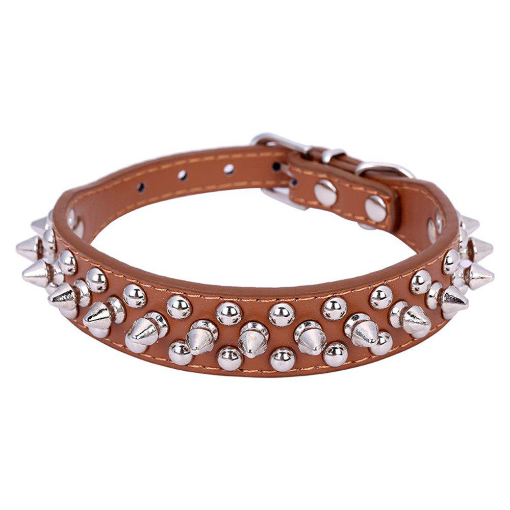 Pet Dog Collar Round Bullet Nail Rivet Studded Collar Neck Strap Pitbull - BROWN XL(85)