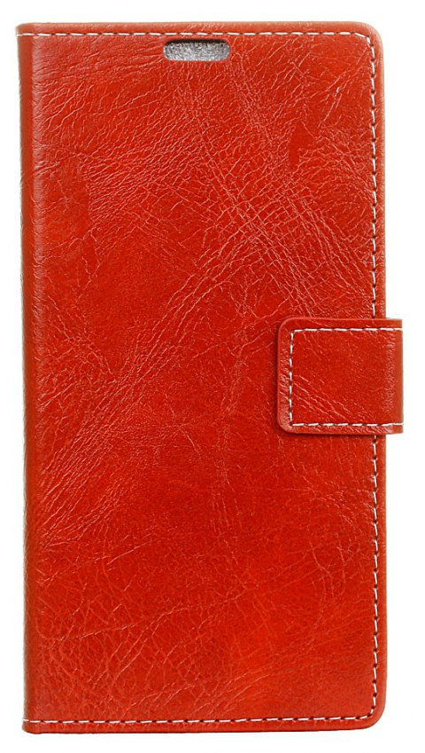 Cover Case For Meizu M6 Genuine Quality Retro Style Crazy Horse Pattern Flip PU Leather Wallet Case - RED