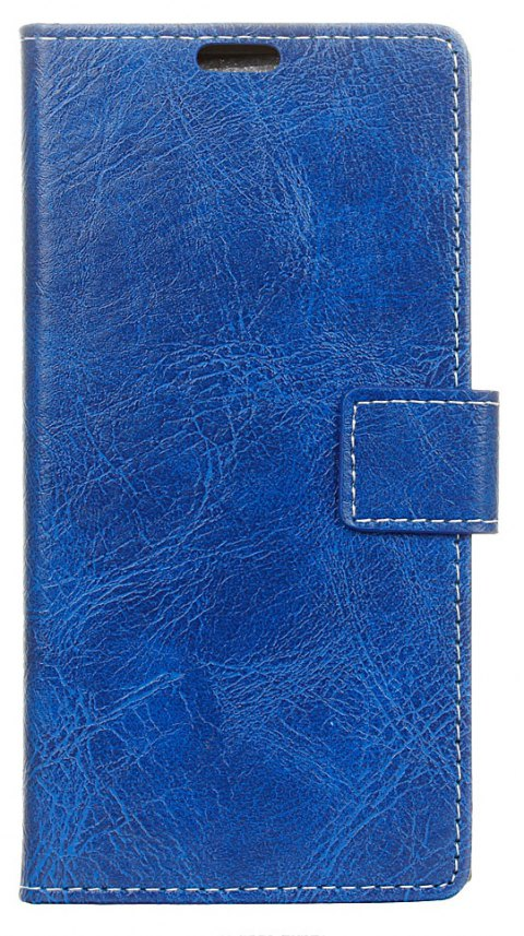 Cover Case For Meizu M6 Genuine Quality Vintage Style Crazy Horse Pattern Flip PU Leather Wallet Case - BLUE