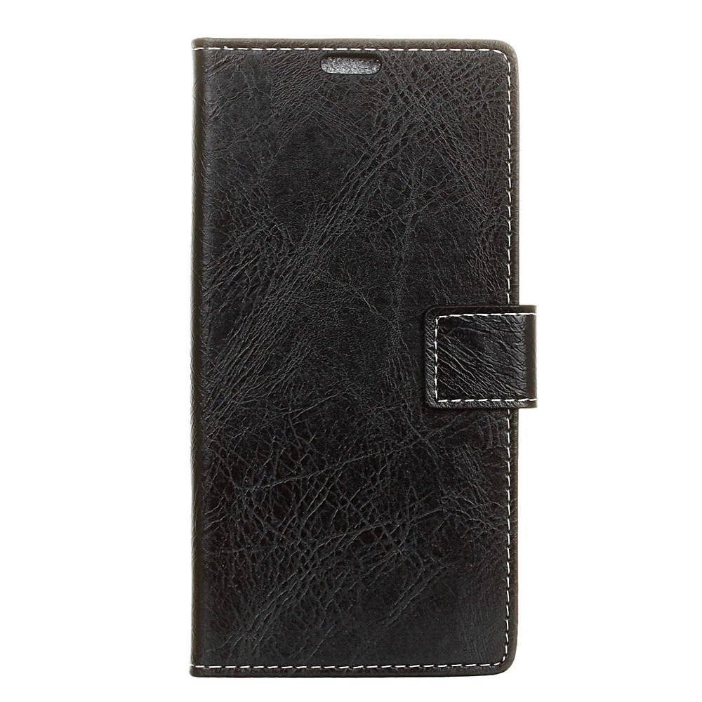 Cover Case For Meizu M6 Genuine Quality Retro Style Crazy Horse Pattern Flip PU Leather Wallet Case - BLACK