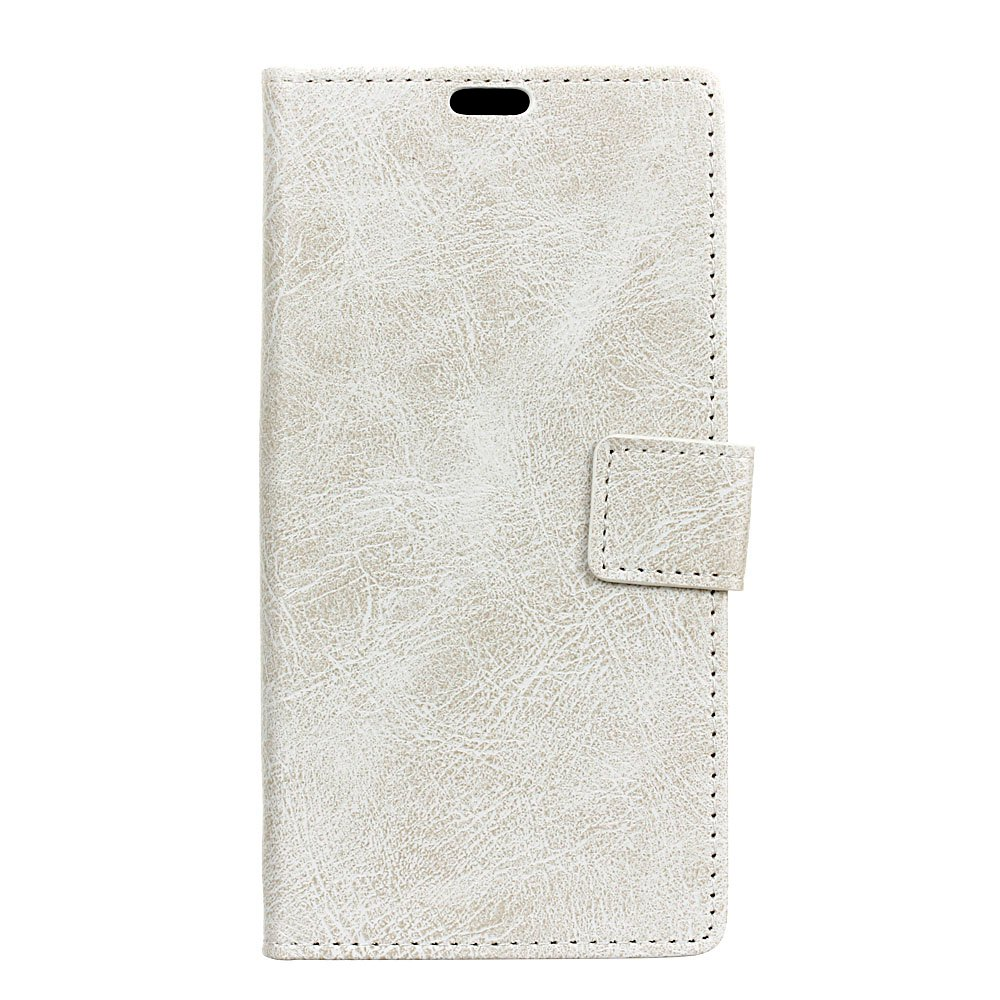 Cover Case For Meizu M6 Genuine Quality Retro Style Crazy Horse Pattern Flip PU Leather Wallet Case - WHITE