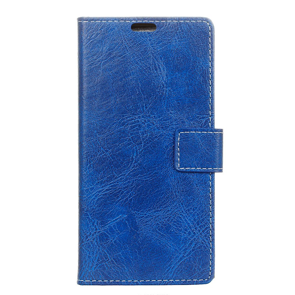 Cover Case For Meizu M6 Genuine Quality Retro Style Crazy Horse Pattern Flip PU Leather Wallet Case - BLUE