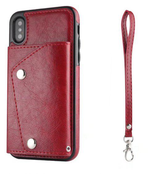 For iPhone X Case Leather Wallet Back Cover with Card Slots and Lanyard - RED