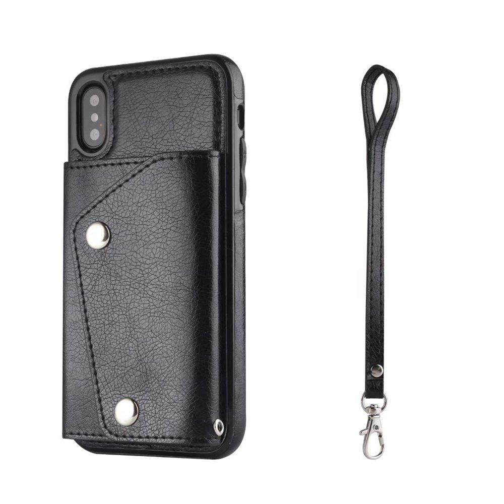 For iPhone X Case Leather Wallet Back Cover with Card Slots and Lanyard - BLACK