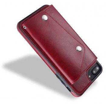For iPhone 7 / 8 Case Leather Wallet Back Cover with Card Slots and Lanyard - RED