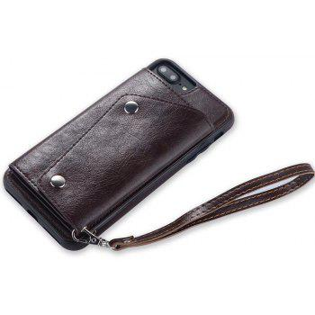 For iPhone 7 / 8 Case Leather Wallet Back Cover with Card Slots and Lanyard - RED WINE