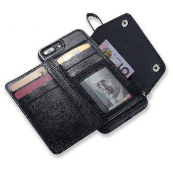For iPhone 7 / 8 Case Leather Wallet Back Cover with Card Slots and Lanyard - BLACK