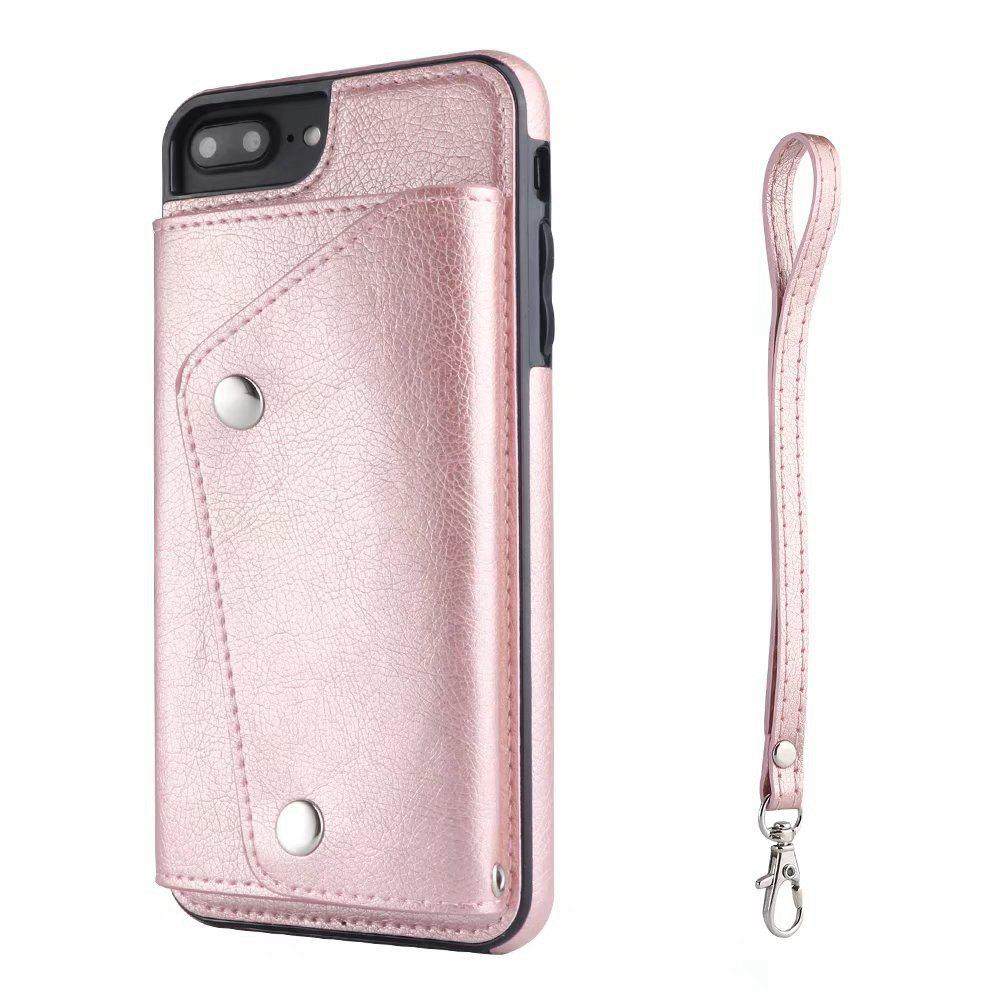 For iPhone 7 / 8 Case Leather Wallet Back Cover with Card Slots and Lanyard - ROSE