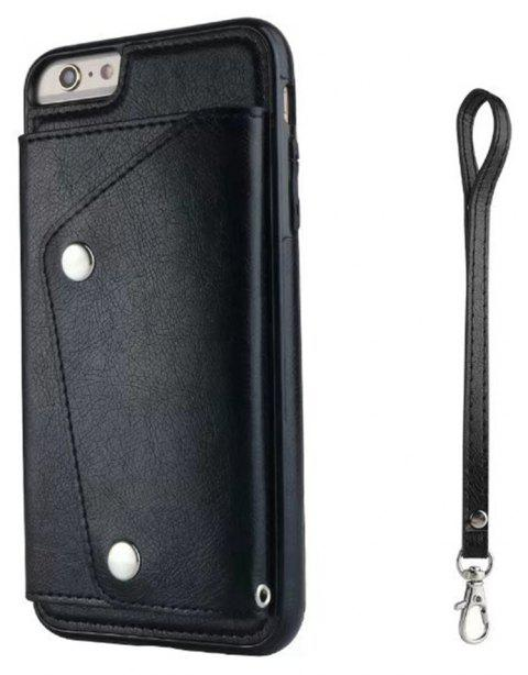 For iPhone 6 / 6s  Case Leather Wallet Back Cover with Card Slots and Lanyard - BLACK