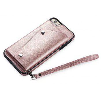 For iPhone 6 / 6s  Case Leather Wallet Back Cover with Card Slots and Lanyard - ROSE