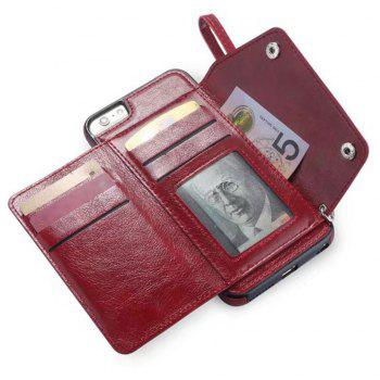 For iPhone 6 / 6s  Case Leather Wallet Back Cover with Card Slots and Lanyard - RED