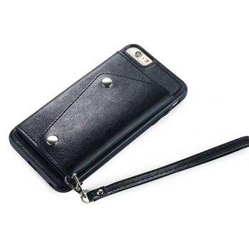 Leather Wallet Case Back Cover with Card Slots and Lanyard for iPhone 7 / 8 - BLACK