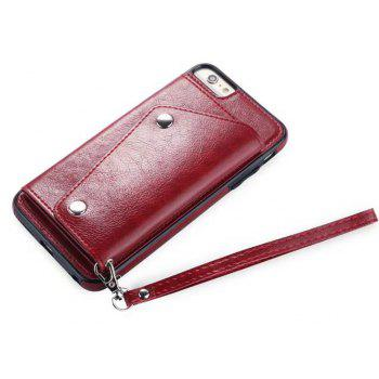 Leather Wallet Case Back Cover with Card Slots and Lanyard for iPhone 7 / 8 - RED