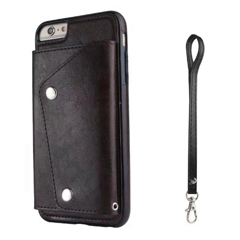 Leather Wallet Case Back Cover with Card Slots and Lanyard for iPhone 7 / 8 - RED WINE