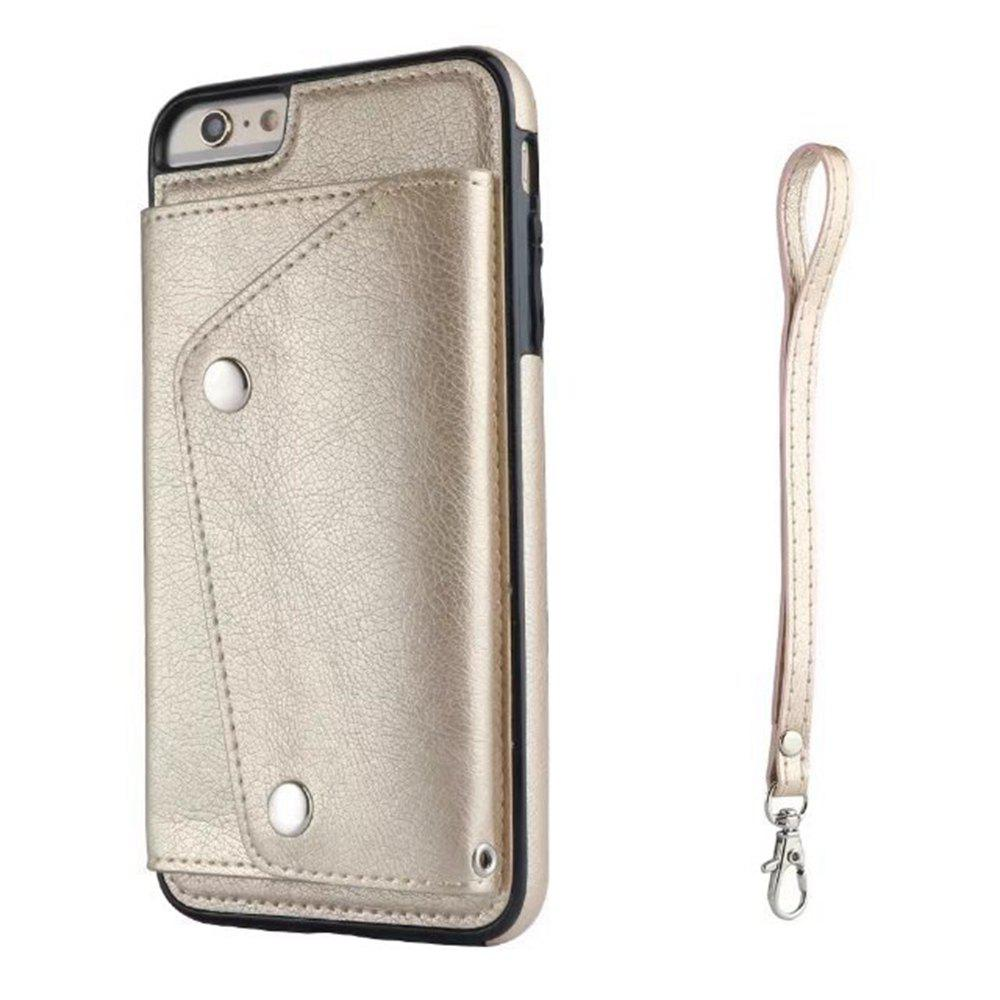 Leather Wallet Case Back Cover with Card Slots and Lanyard for iPhone 7 / 8 - GOLDEN BROWN
