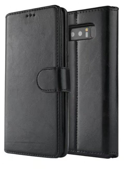 For Samsung Galaxy Note 8 Case Premium Leather Pouch with Detachable Back Cover - BLACK