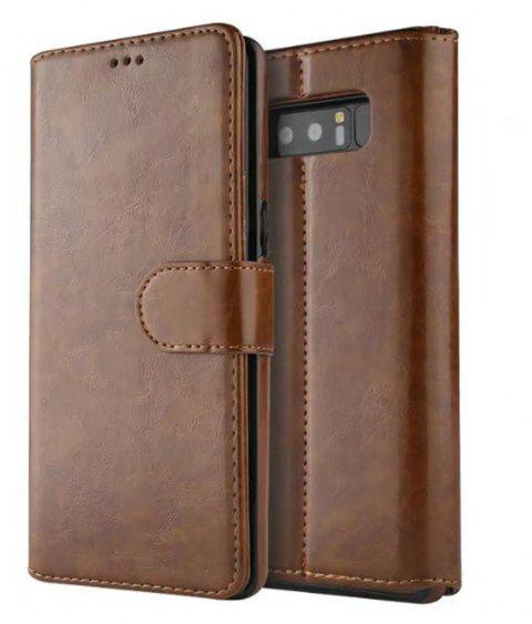 For Samsung Galaxy Note 8 Case Premium Leather Pouch with Detachable Back Cover - BROWN