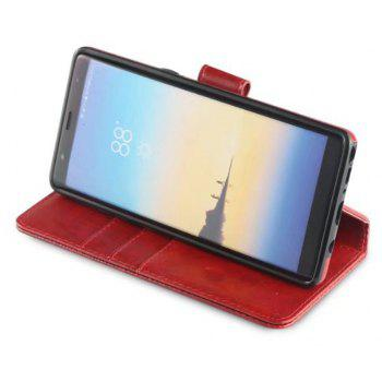 For Samsung Galaxy Note 8 Case Premium Leather Pouch with Detachable Back Cover - RED WINE