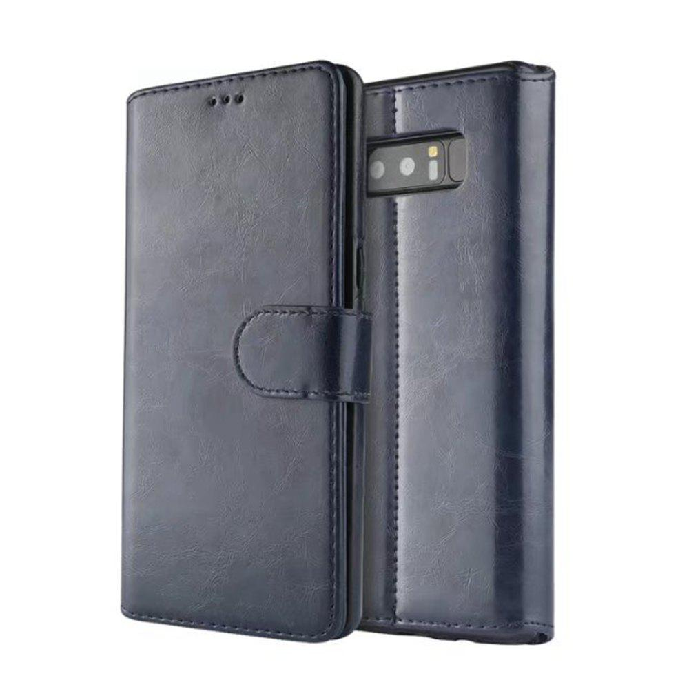 For Samsung Galaxy Note 8 Case Premium Leather Pouch with Detachable Back Cover - BLUE