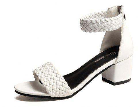 Flat Bottomed Sandals with A Simple Word - WHITE 38