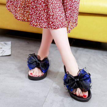 Fashion Wear All-match Bow Thick Soled Slippers Word - BLUE 41