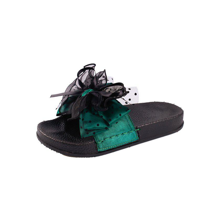 Fashion Wear All-match Bow Thick Soled Slippers Word, Green