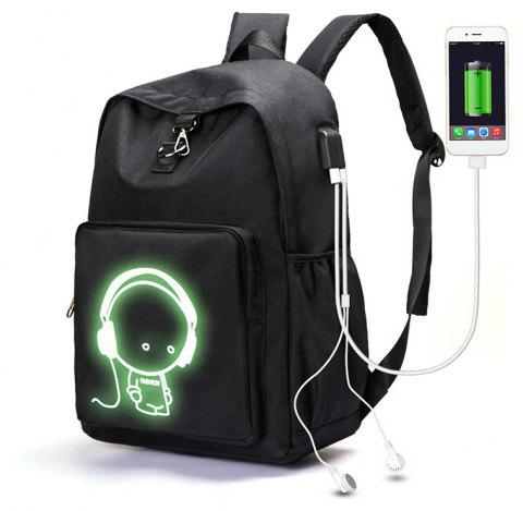 Youth Fashion Campus Charging Luminous Backpack - BLACK