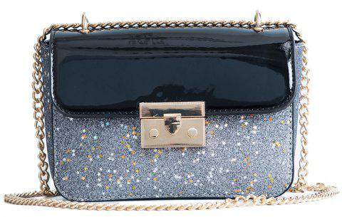 Lock 2018 New Fashion Personality Small Sequins All-match Shoulder Messenger Bag - BLACK