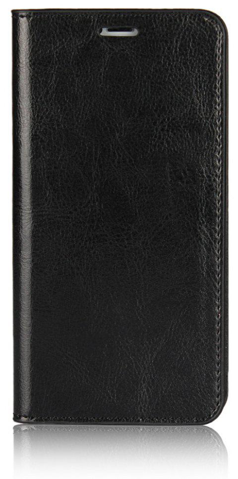 For iPhone 7 Plus Case Full Grain Genuine Leather With Kickstand Function Credit Card Slots Magnetic Handmade Flip - BLACK