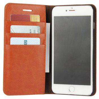 For iPhone 7 Plus Case Full Grain Genuine Leather With Kickstand Function Credit Card Slots Magnetic Handmade Flip - BROWN