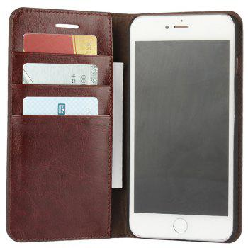For iPhone 7 Plus Case Full Grain Genuine Leather With Kickstand Function Credit Card Slots Magnetic Handmade Flip - PUCE