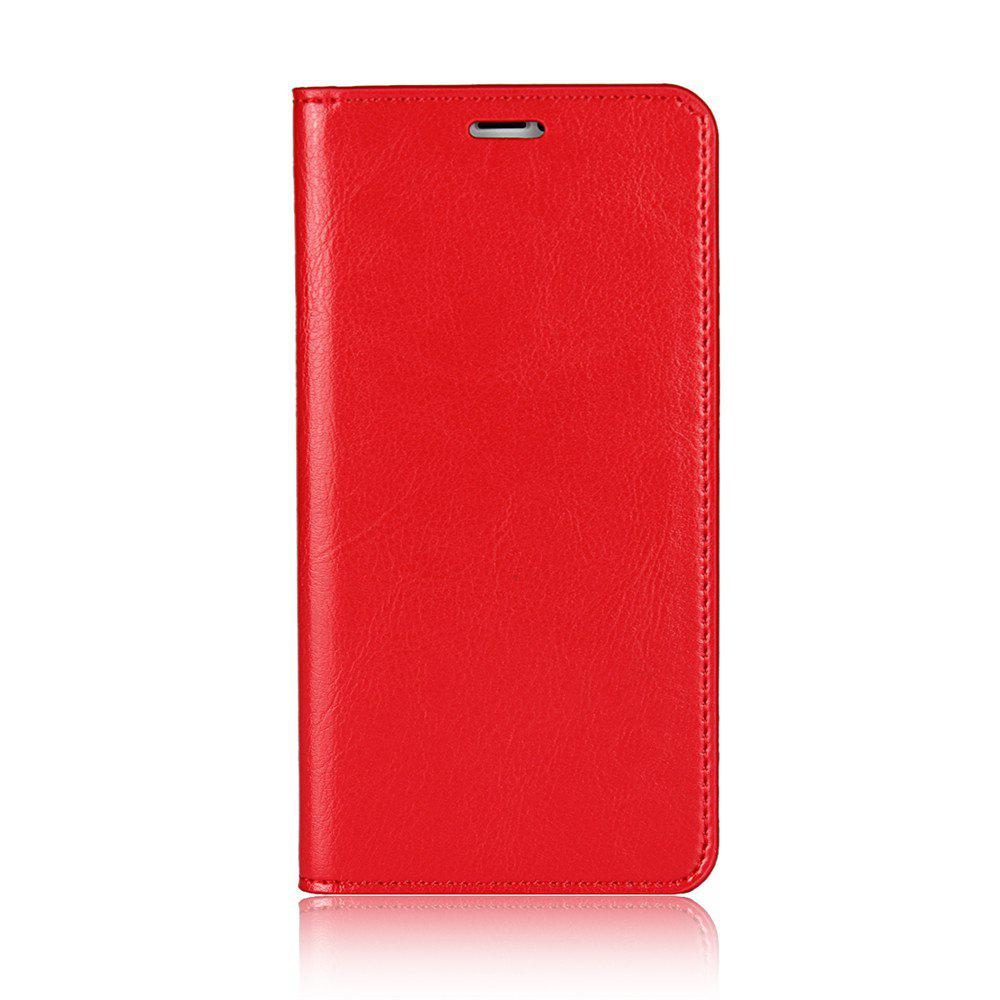 For iPhone 7 Plus Case Full Grain Genuine Leather With Kickstand Function Credit Card Slots Magnetic Handmade Flip - RED