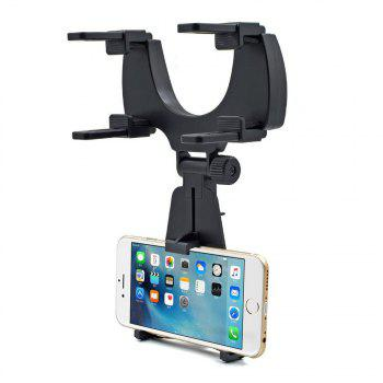 360 Degre Rotation Rear View Mirror Mount Phone Holder for Phone 3.5-6 inch - BLACK