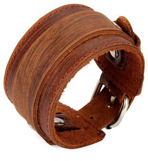 Fashion Ornaments with Wide Skin and Double Braced Bracelets - BROWN