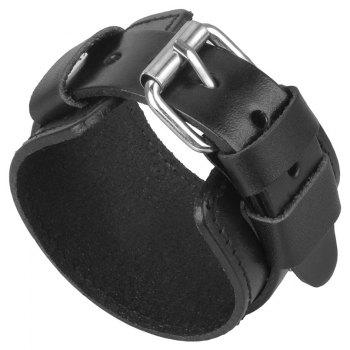Fashion Ornaments with Wide Skin and Double Braced Bracelets - BLACK