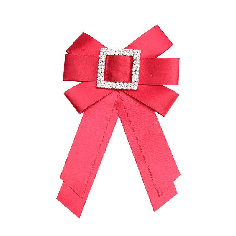 Crystal Bowknot Ribbon Pin Deserve to Act The Role of Women Fashion Cloth brooch - RED
